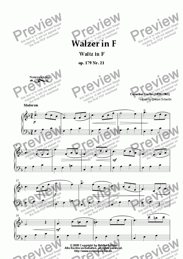 page one of Walzer in F major, op. 179 Nr.21 for piano (C. Gurlitt)