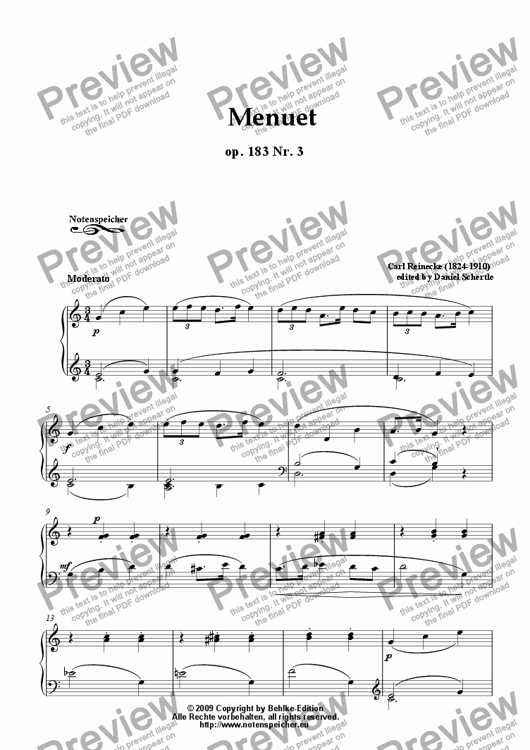 page one of Menuet in C major, op. 183 Nr. 3 for piano (C. Reinecke)