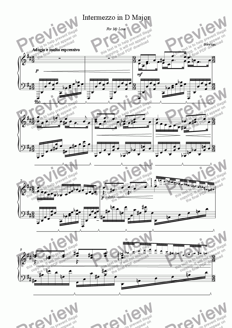 page one of Intermezzo in D Major