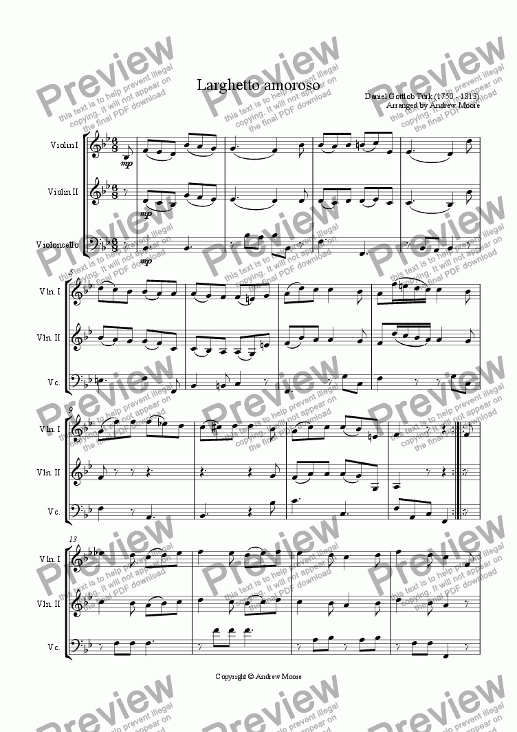 page one of Larghetto Amoroso arranged for String Trio