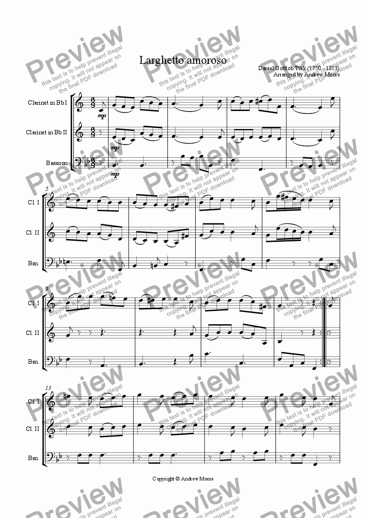 page one of Larghetto Amoroso arranged for Wind TrioASALTTEXT