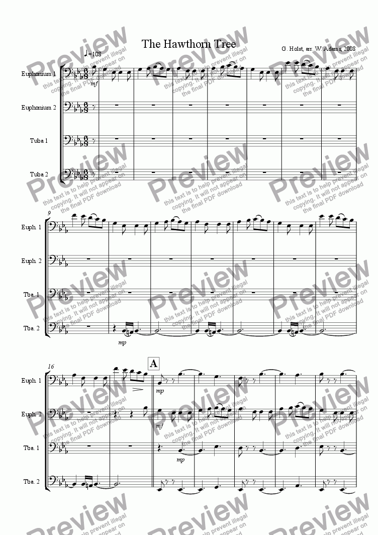page one of The Hawthorn Tree for Tuba Quartet