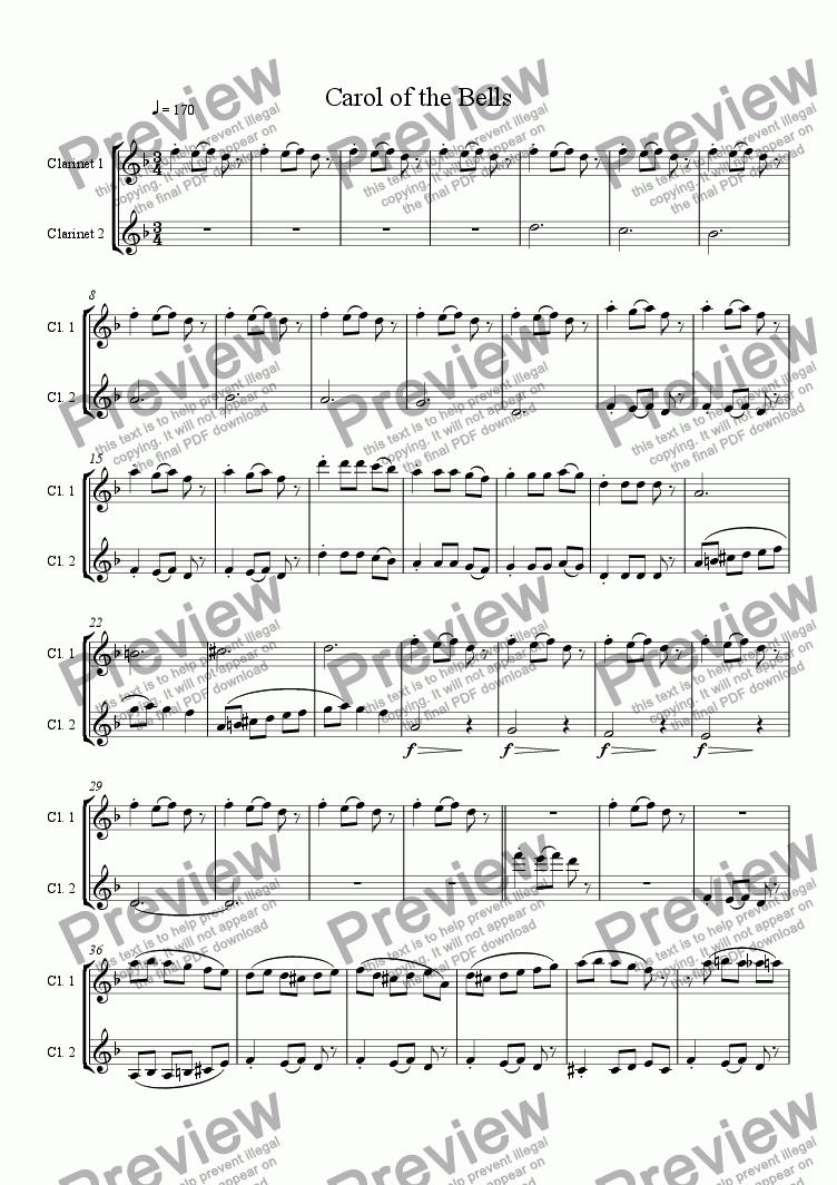 page one of Carol of the Bells, clarinet duet