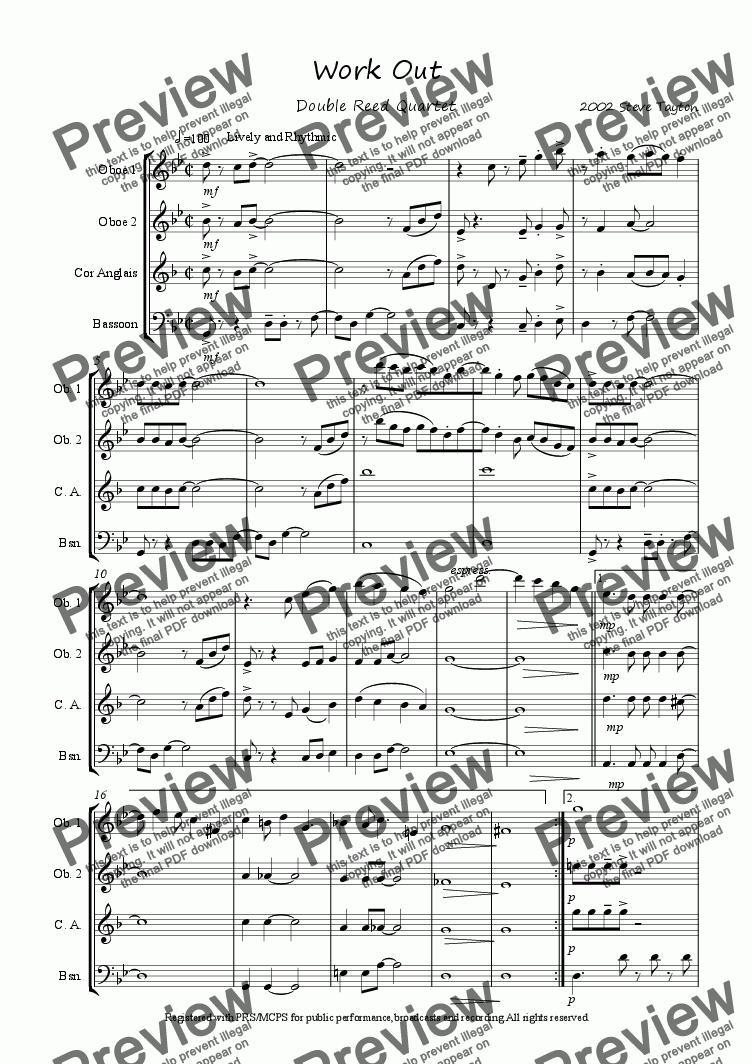 page one of Workout [for double reed quartet]