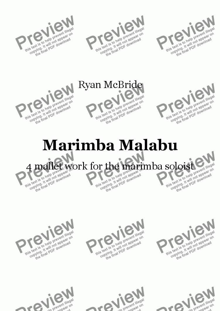 page one of Marimba Malabu