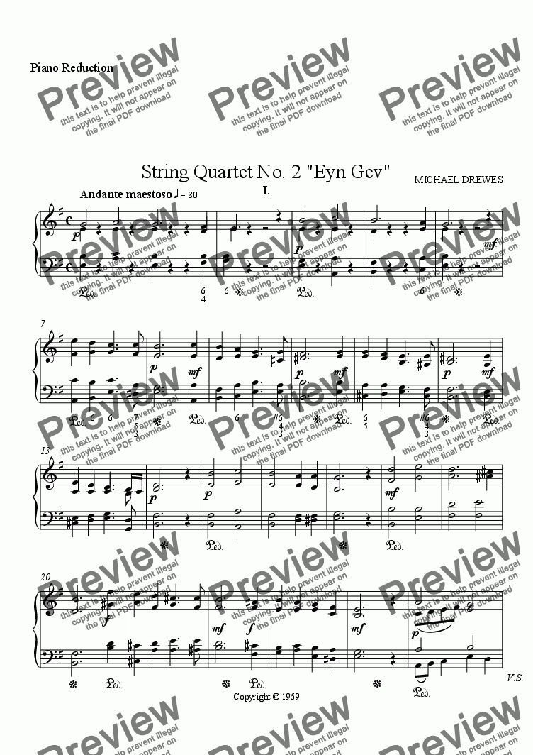 "page one of String Quartet No. 2 ""Eyn Gev"" (Piano Reduction)"