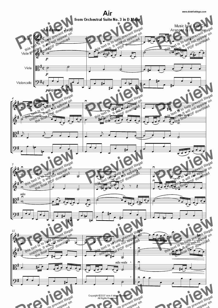 page one of Air from Orchestral Suite No. 3