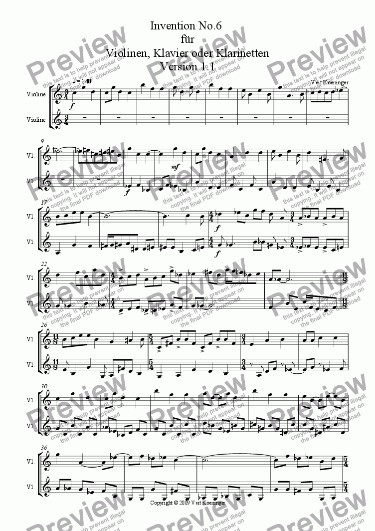 page one of Atonal invention No.6 for piano or 2 violins or 2 clarinets