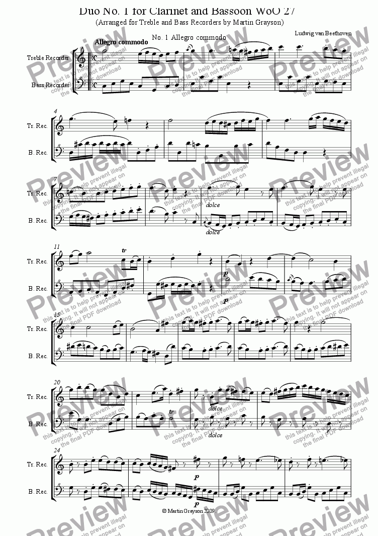 page one of Duo No. 1 for Clarinet and Bassoon, arranged for Treble and Bass Recorders