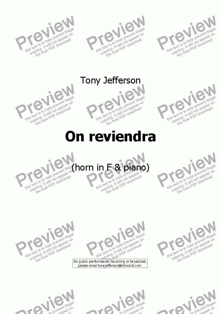 page one of On reviendra
