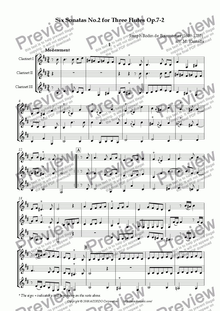 page one of Six Sonatas No.2 for three Clarinets Op.7-2