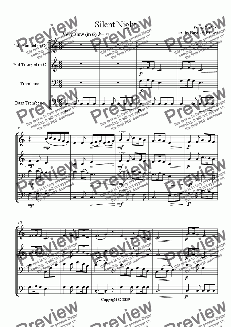 page one of Christmas: Silent Night for Brass Quartet