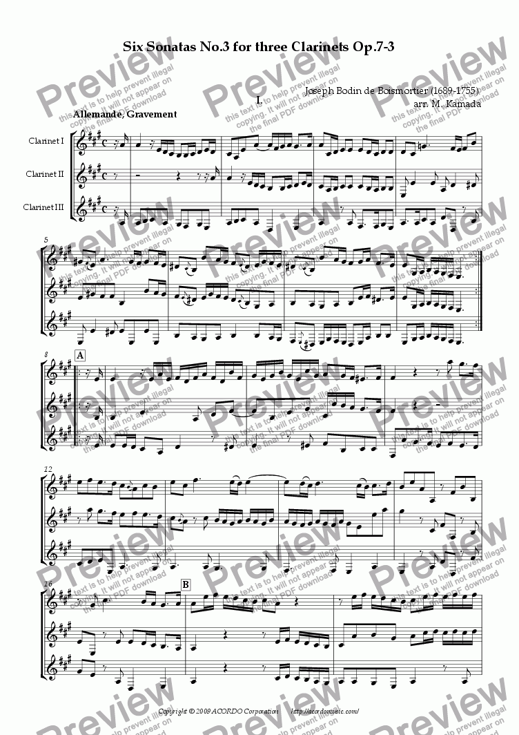 page one of Six Sonatas No.3 for three Clarinets Op.7-3
