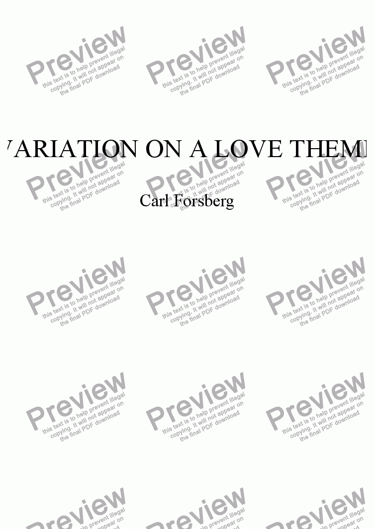 page one of VARIATION ON A LOVE THEME