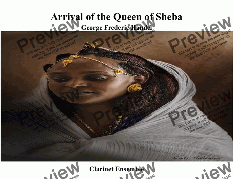 page one of Arrival of the Queen of Sheba for Clarinet Quintet +