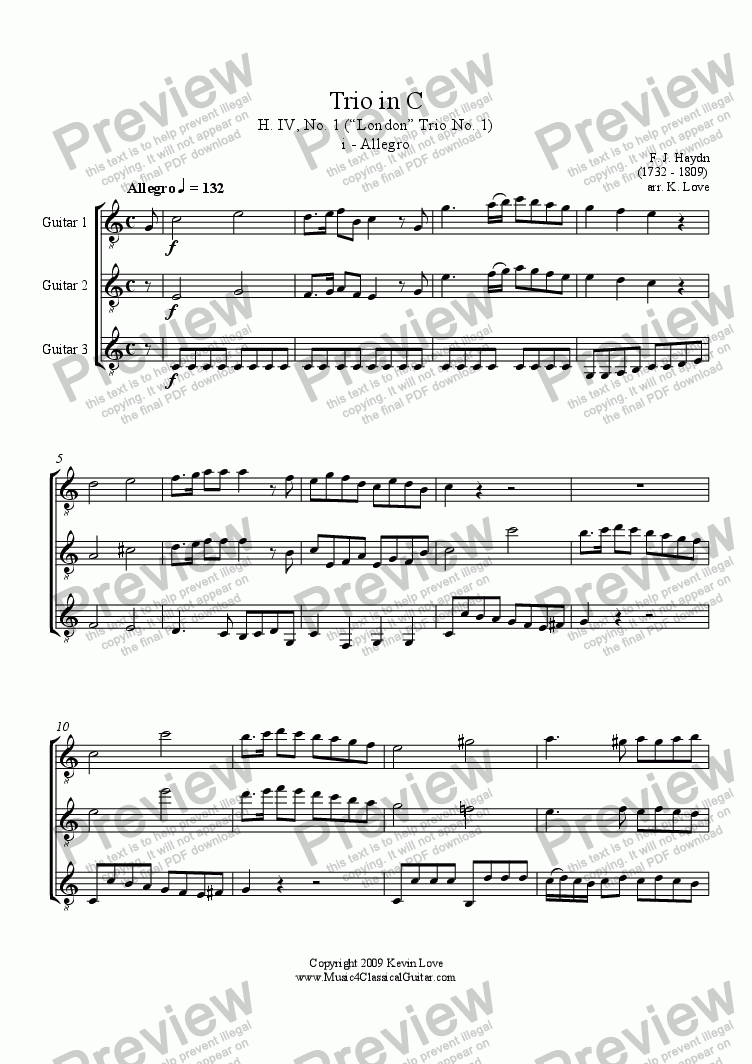 page one of Trio in C - i - Allegro