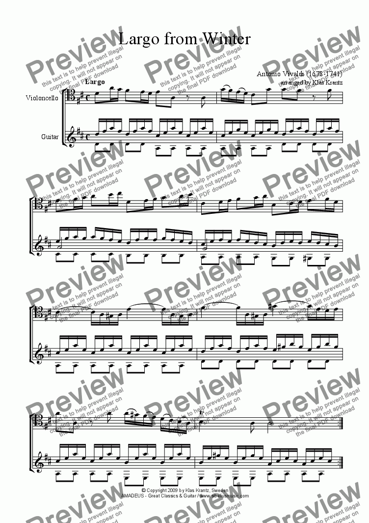 page one of Largo from Winter for cello and guitar