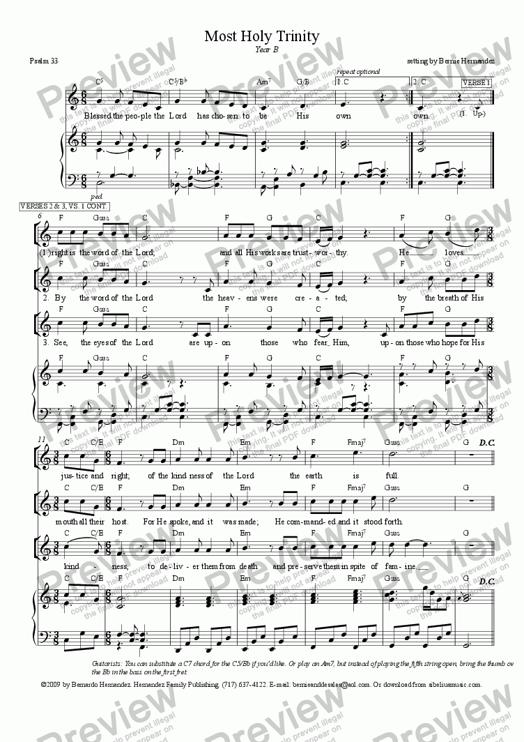page one of Responsorial Psalm - Most Holy Trinity, Yr. B