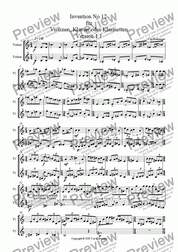page one of Atonal invention No.12 for piano or 2 violins or 2 clarinets