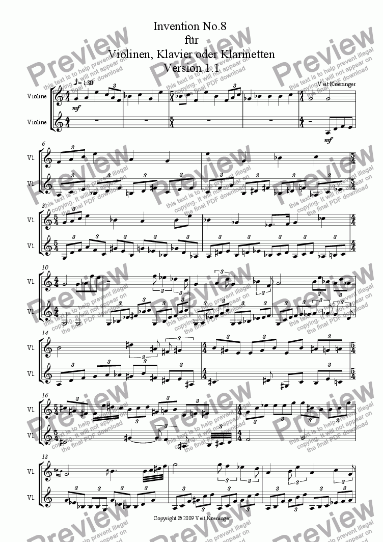 page one of Atonal invention No.8 for piano or 2 violins or 2 clarinets
