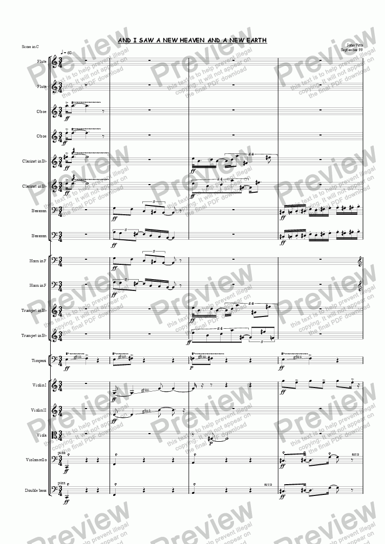 page one of And I saw a new heaven and a new earth (chamber orchestra) [1999]