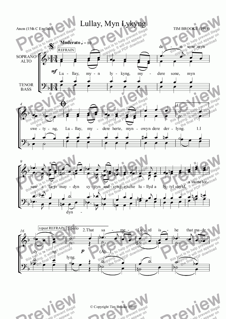 page one of Lullay, Myn Lykyng - carol for SS choir & piano