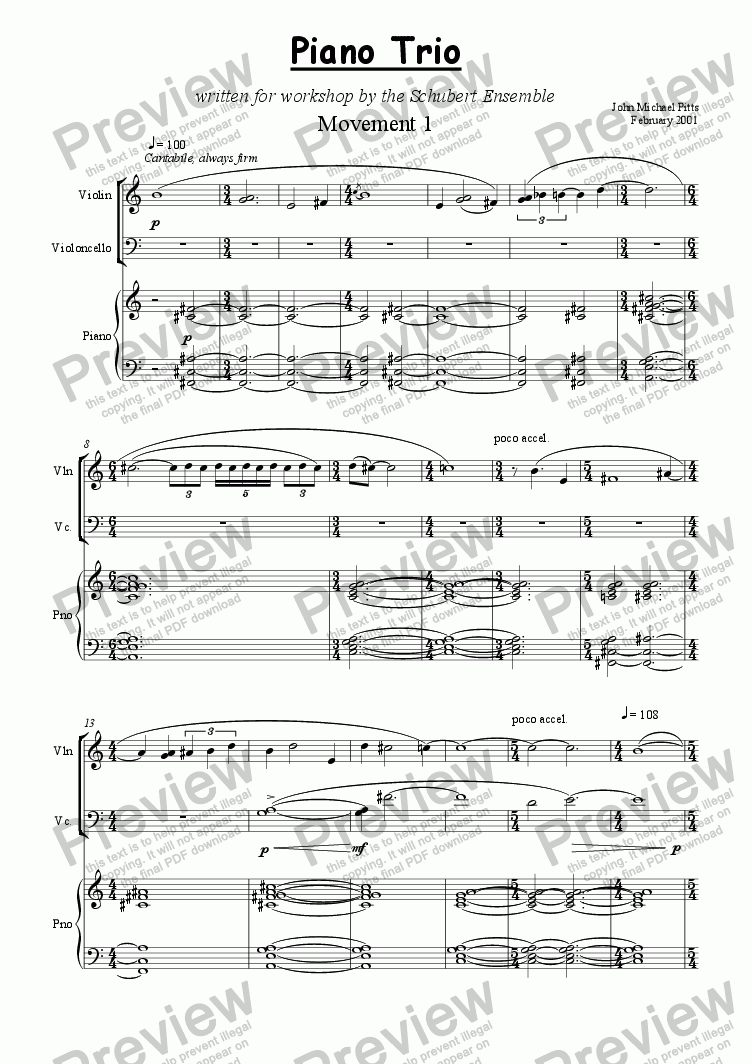 page one of Piano Trio [2001]