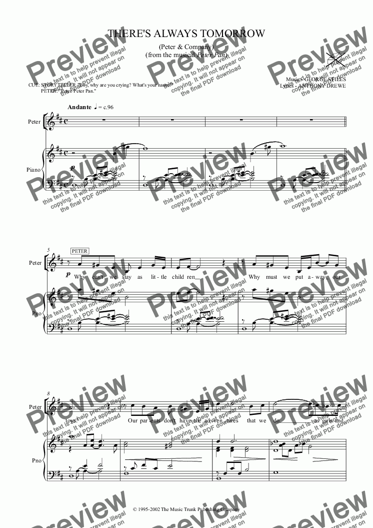 There's Always Tomorrow for Voice + keyboard by George Stiles - Sheet Music  PDF file to download