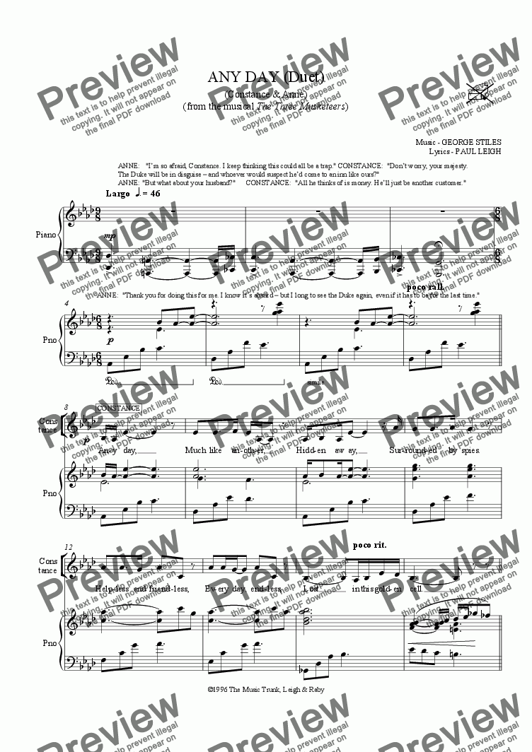 page one of Anyday Duet
