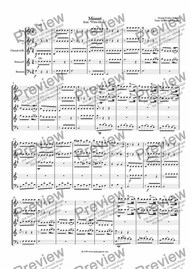 page one of Handel - Water Music Minuet