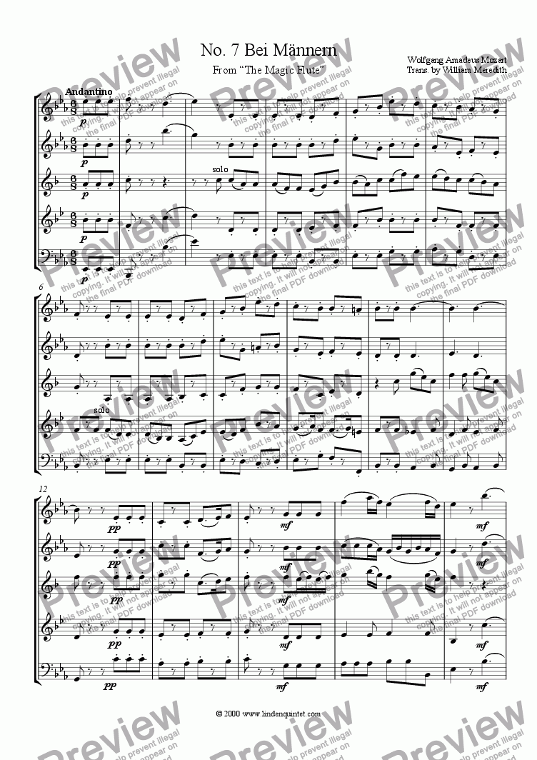 page one of Mozart - Magic Flute No. 07 Bei Mannern