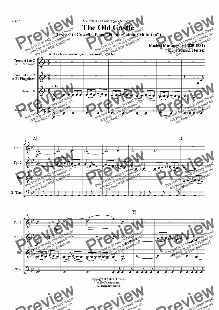 page one of The Old Castle (from Pictures at an Exhibition) - Brass QUARTET