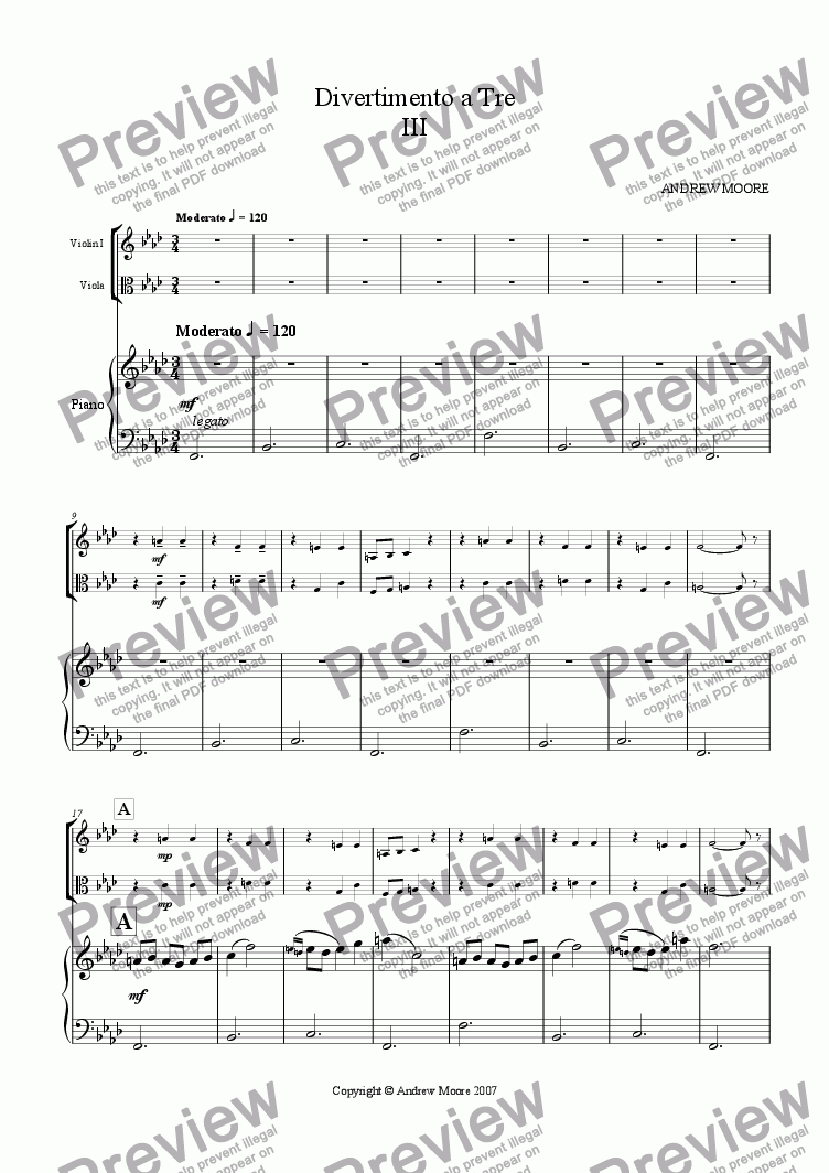 page one of 'Divertimento a Tre' - 3rd Movement (for Violin, Viola & Piano)