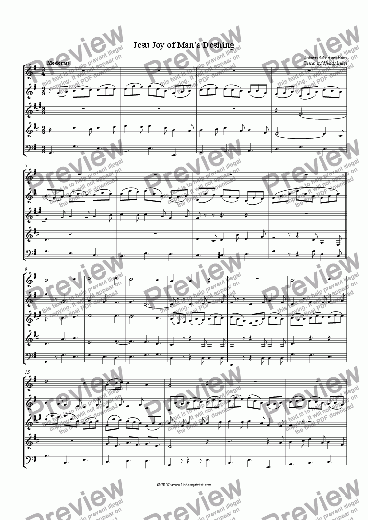 page one of Bach - Jesu Joy of Man's Desiring