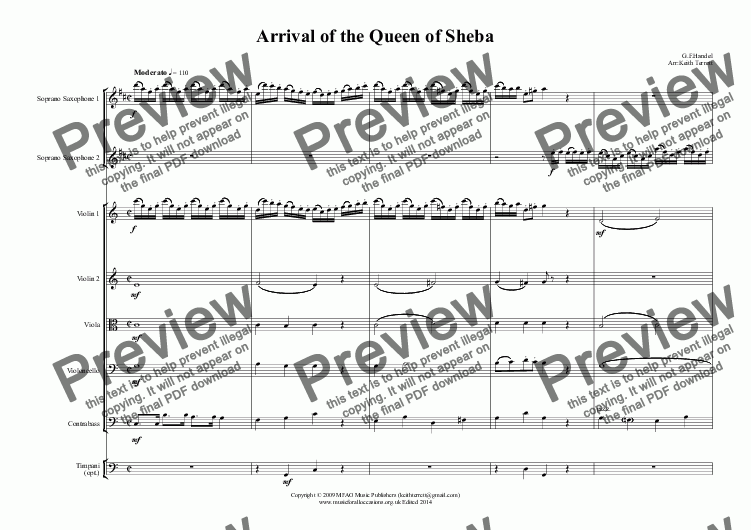 page one of Arrival of the Queen of Sheba for two Soprano Saxophones & String Orchestra