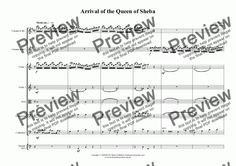 page one of Arrival of the Queen of Sheba for two Clarinets & String Orchestra