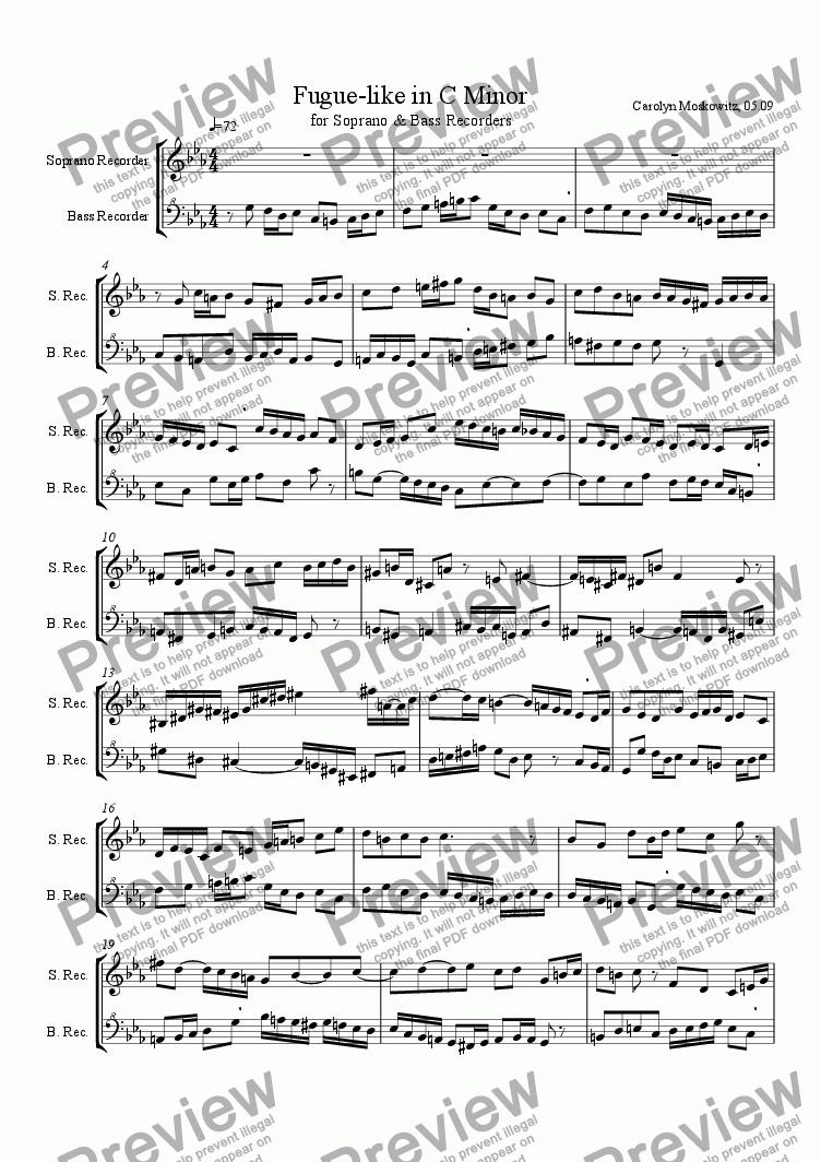 page one of Fugue-like in C Minor