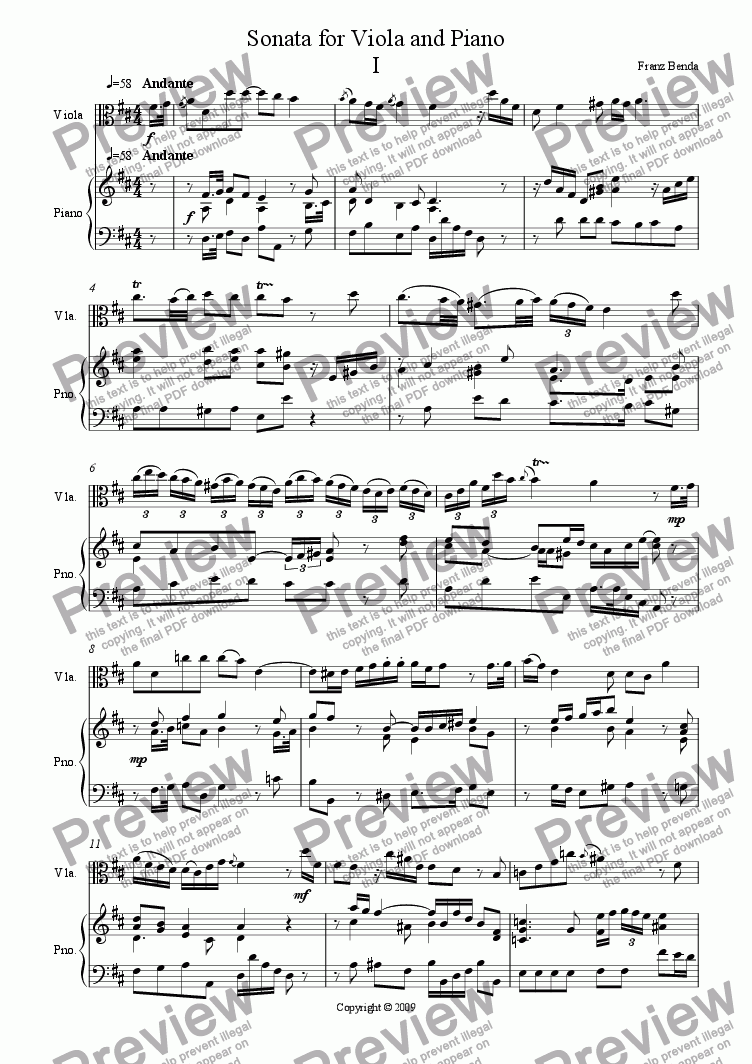 page one of Sonata for Viola and Piano by Benda
