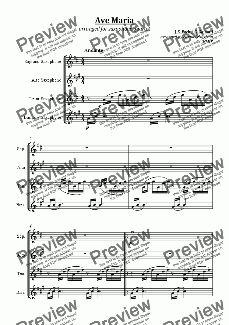 page one of Ave Maria (for saxophone quartet)