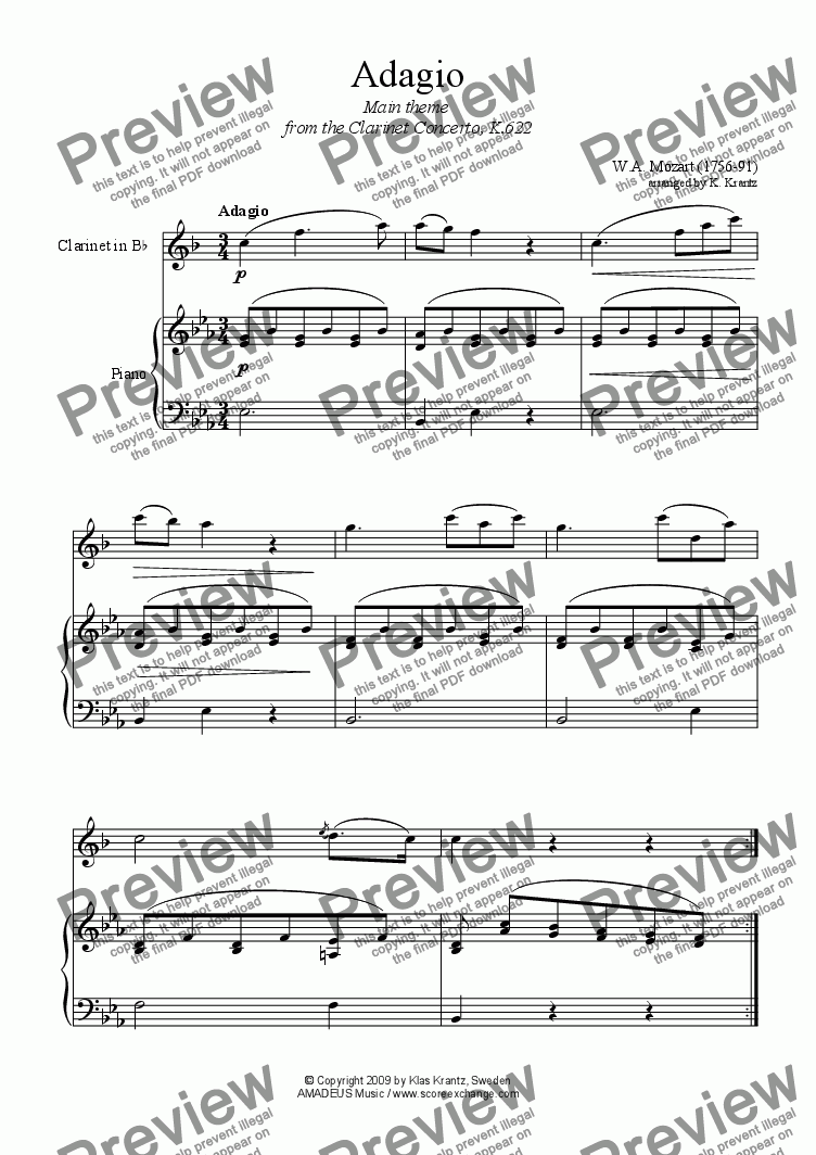 page one of Adagio for clarinet in Bb and easy piano