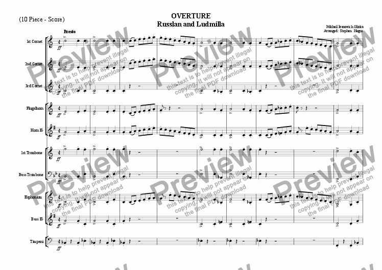 page one of Overture - Russlan & Ludmilla ( 10 Piece)
