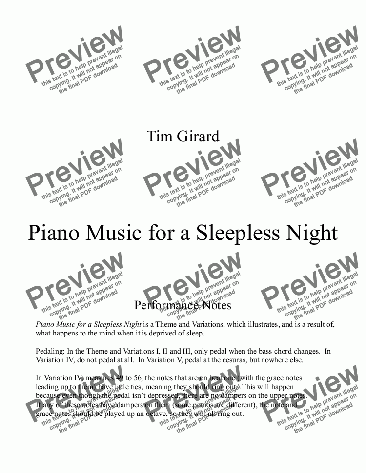 page one of Piano Music for a Sleepless Night