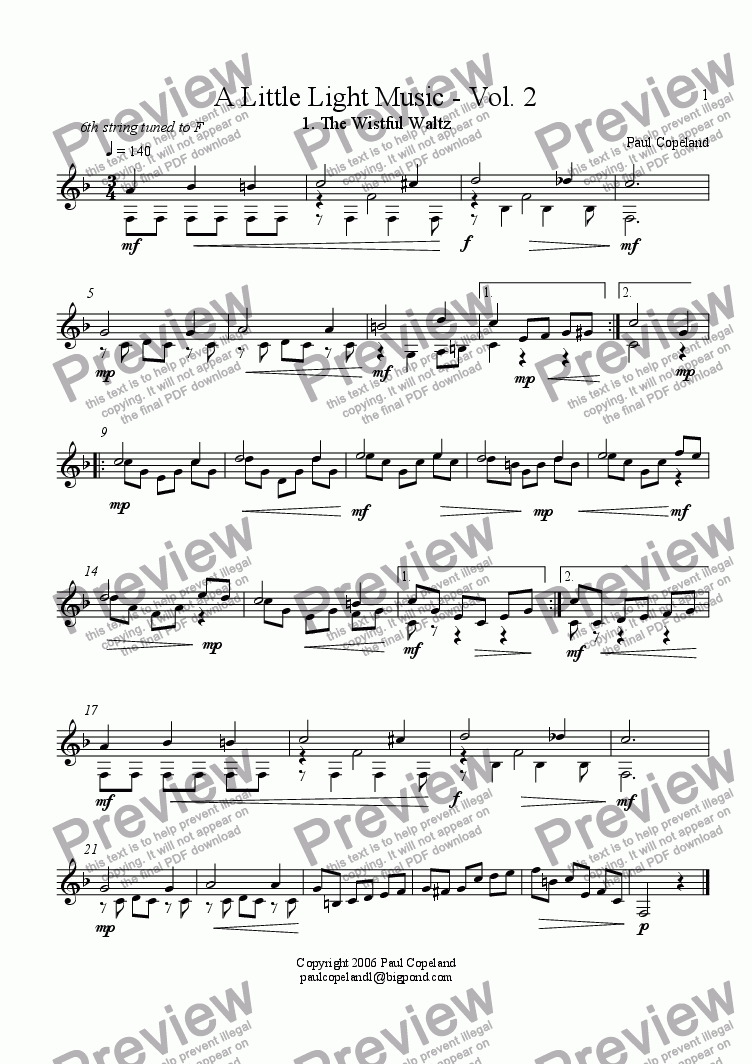 page one of A Little Light Music for Guitar Volume II