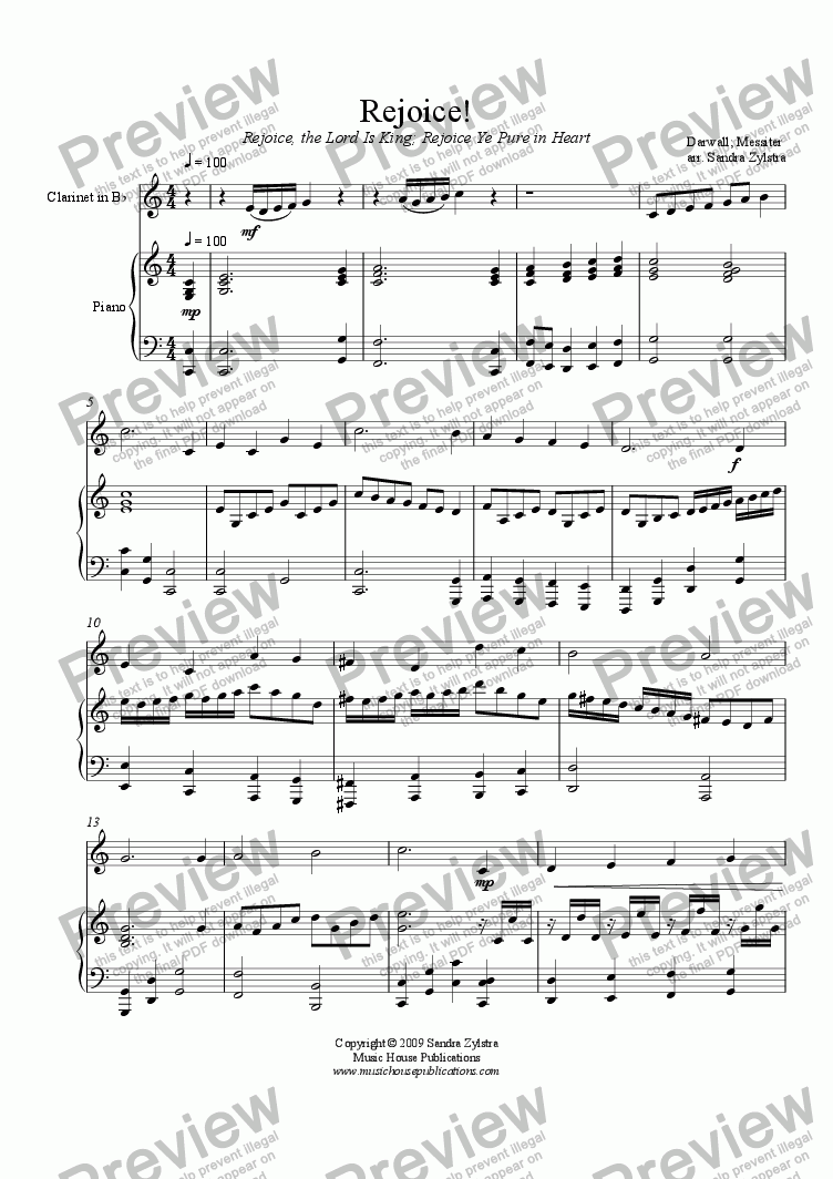 page one of Rejoice! (Instrumental Solo & Piano)