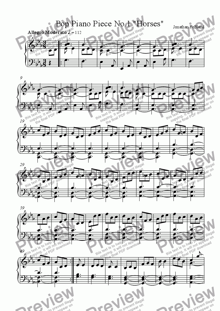 "page one of Pop Piano Piece No.1 ""Horses"""