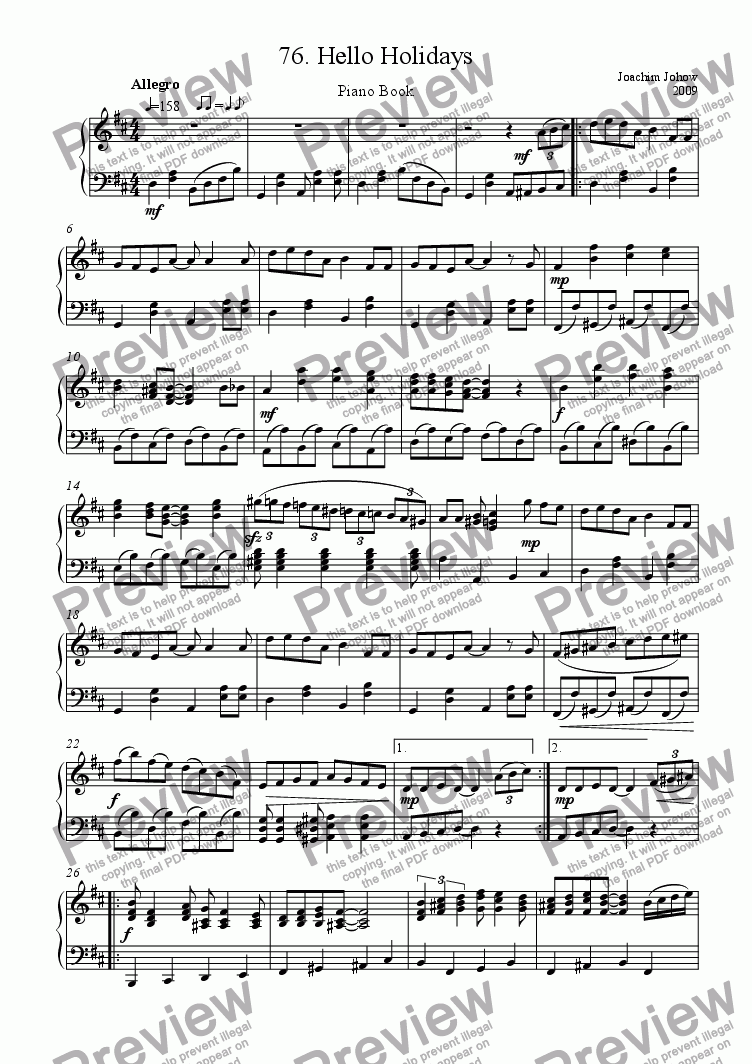 page one of Piano Book 076  (Hello Holidays)