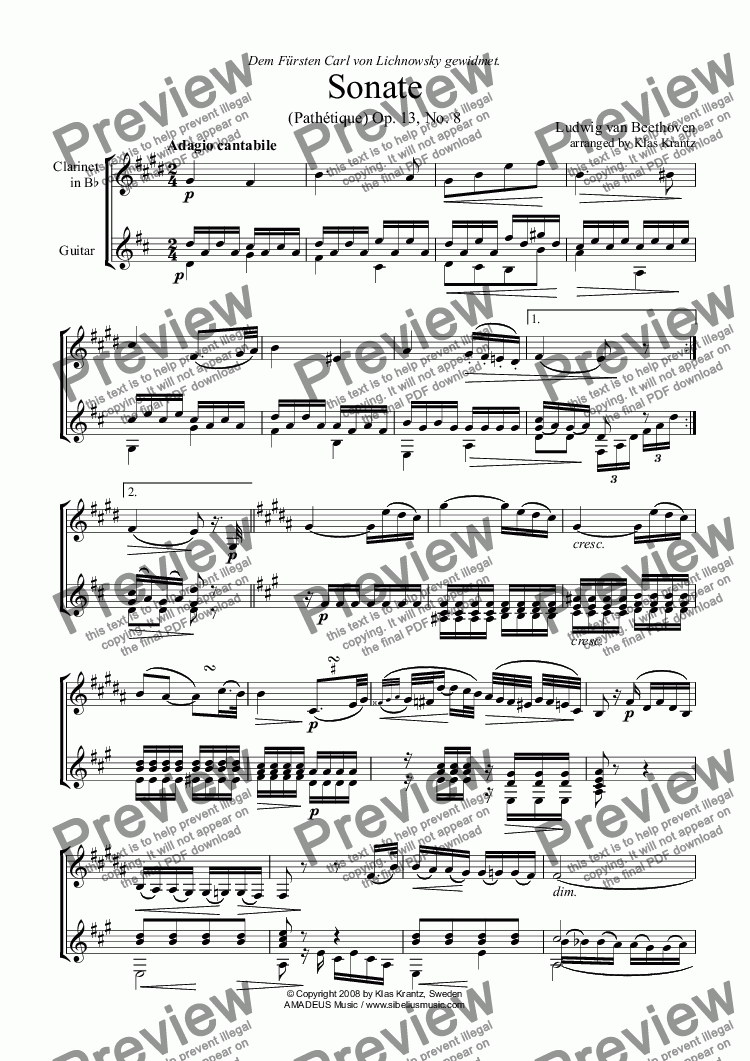 page one of Pathétique - Adagio cantabile, op. 13 No. 8, for clarinet in Bb and guitar