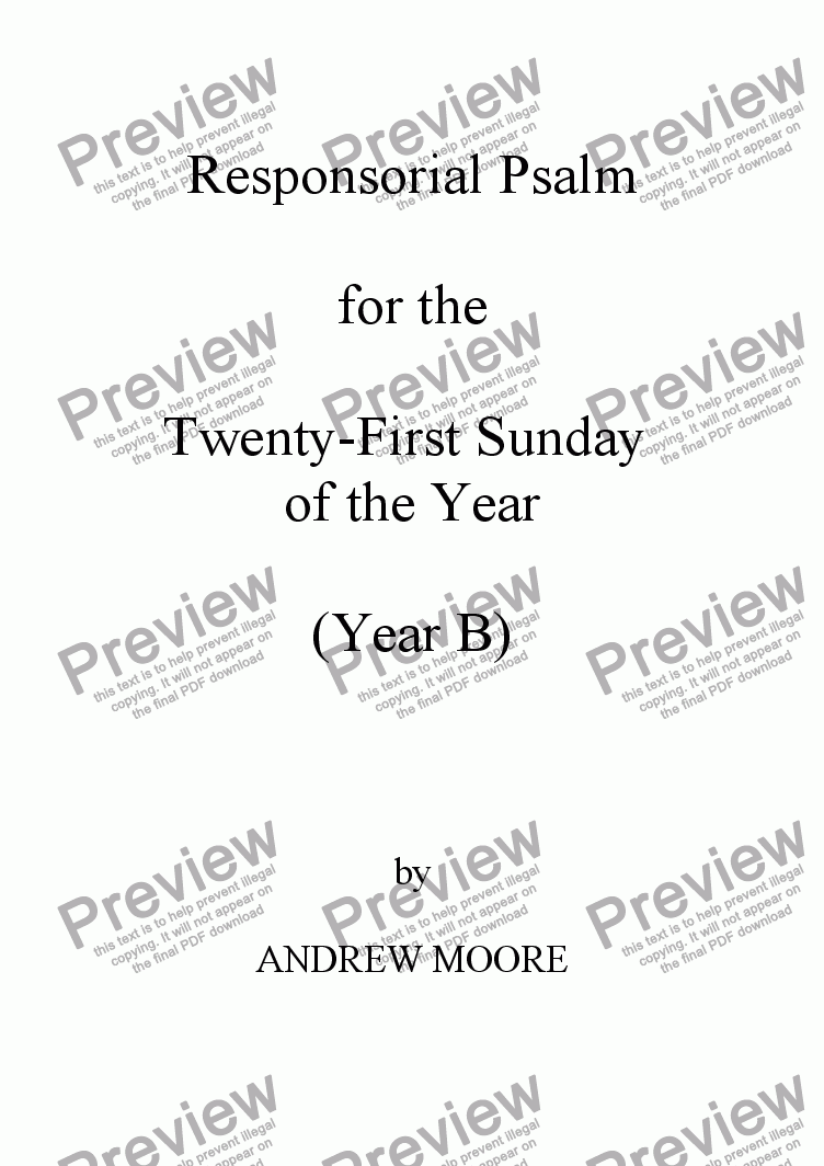 page one of Twenty-First Sunday of the Year (B)