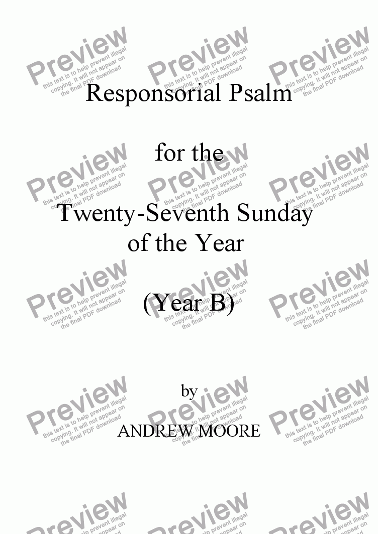 page one of Twenty-Seventh Sunday of the Year (B)