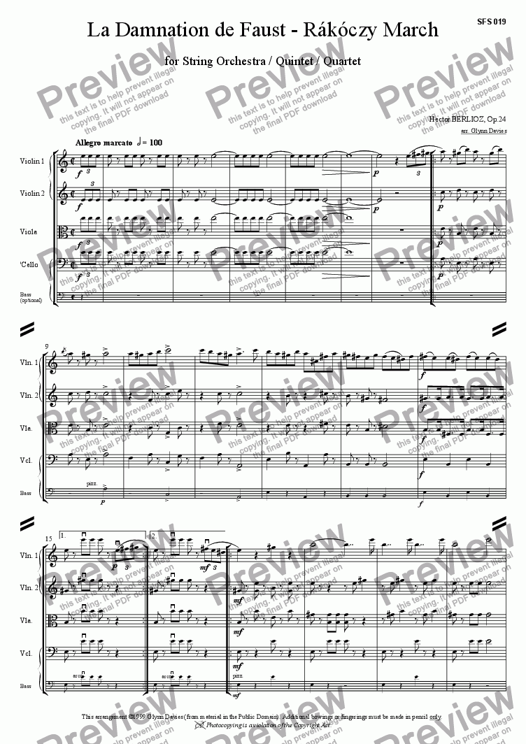 page one of La Damnation de Faust - Rakoczy MarchASALTTEXT